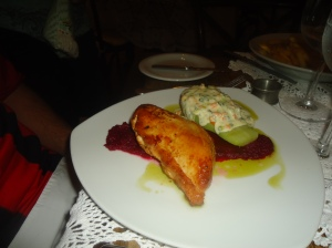 Roasted Chicken Breast on a beet sauce with chuchu